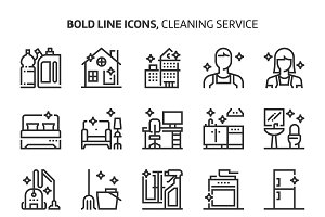 Cleaning service, bold line icons