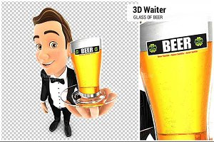 3D Waiter Holding a Glass of Beer