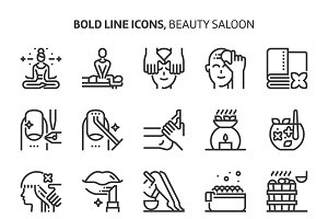 Beauty saloon, bold line icons