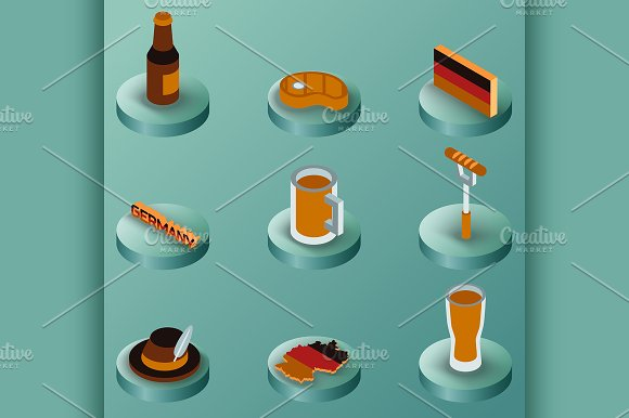 Germany color isometric icons
