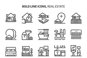 Real estate, bold line icons