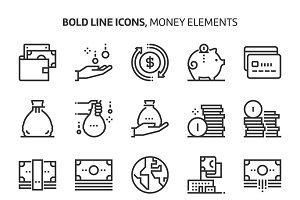 Money elements, bold line icons