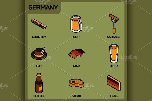 Germany color outline isometric