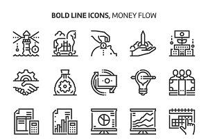 Money flow, bold line icons