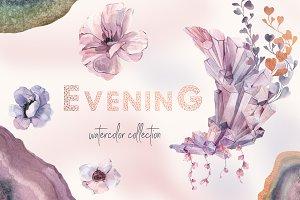 Mauve Gemstones Watercolor Clipart