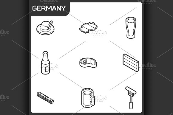 Germany outline isometric icons
