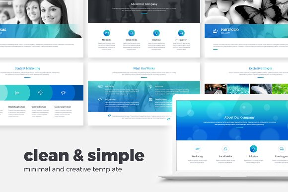 clean minimal powerpoint template presentations