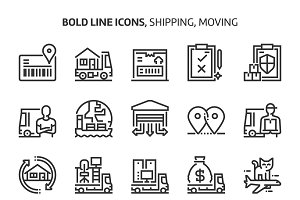 Shipping and moving, bold line icons