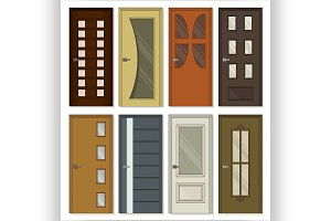 Realistic room doors icons
