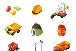Isometric Mining Industry Icons Set