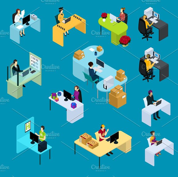 Isometric Support Workers Collection