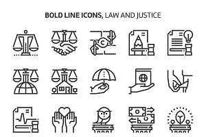 Law and justice, bold line icons