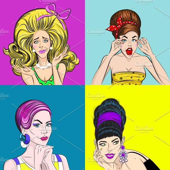 Pop Art Beautiful Women Concept