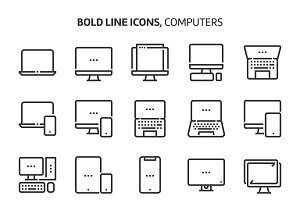 Computers, bold line icons