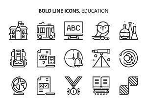 Education, bold line icons.