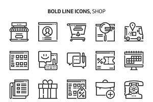 Shop, bold line icons.