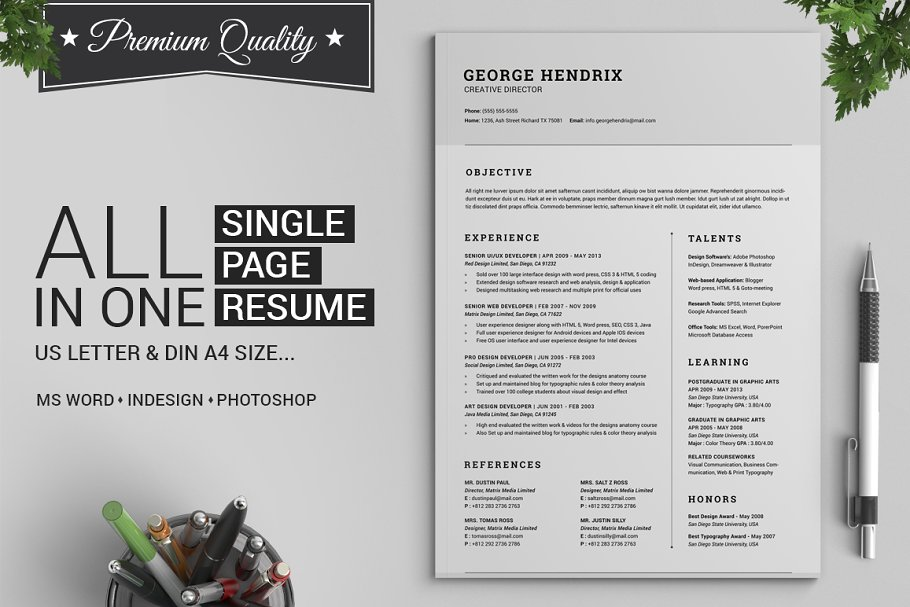 All In One Single Page Resume Pack Templates Creative Market