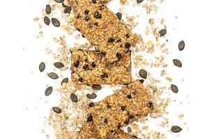 Cereal granola bars white background