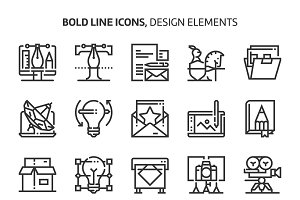 Design elements, bold line icons