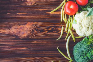 Organic vegetables with design space