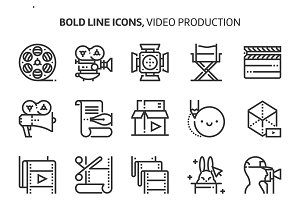 Video production, bold line icons