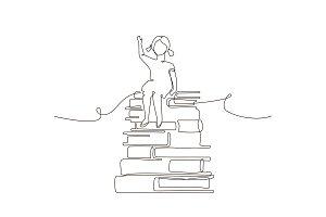 Schoolgirl - vector illustration