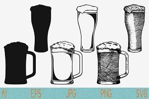 beer glass mug, set vector svg png