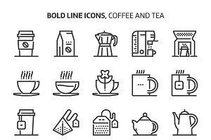 Coffee and tea, bold line icons