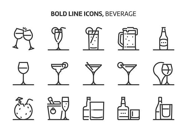 Beverage, bold line icons