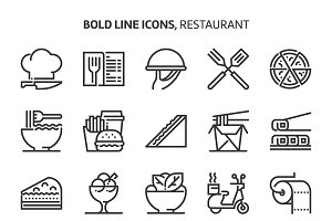 Restaurant, bold line icons