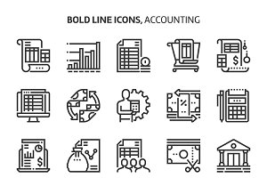 Accounting, bold line icons