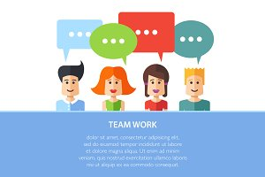 Team Work Flat Design Illustration
