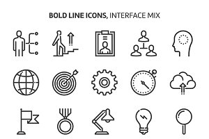 Interface, bold line icons