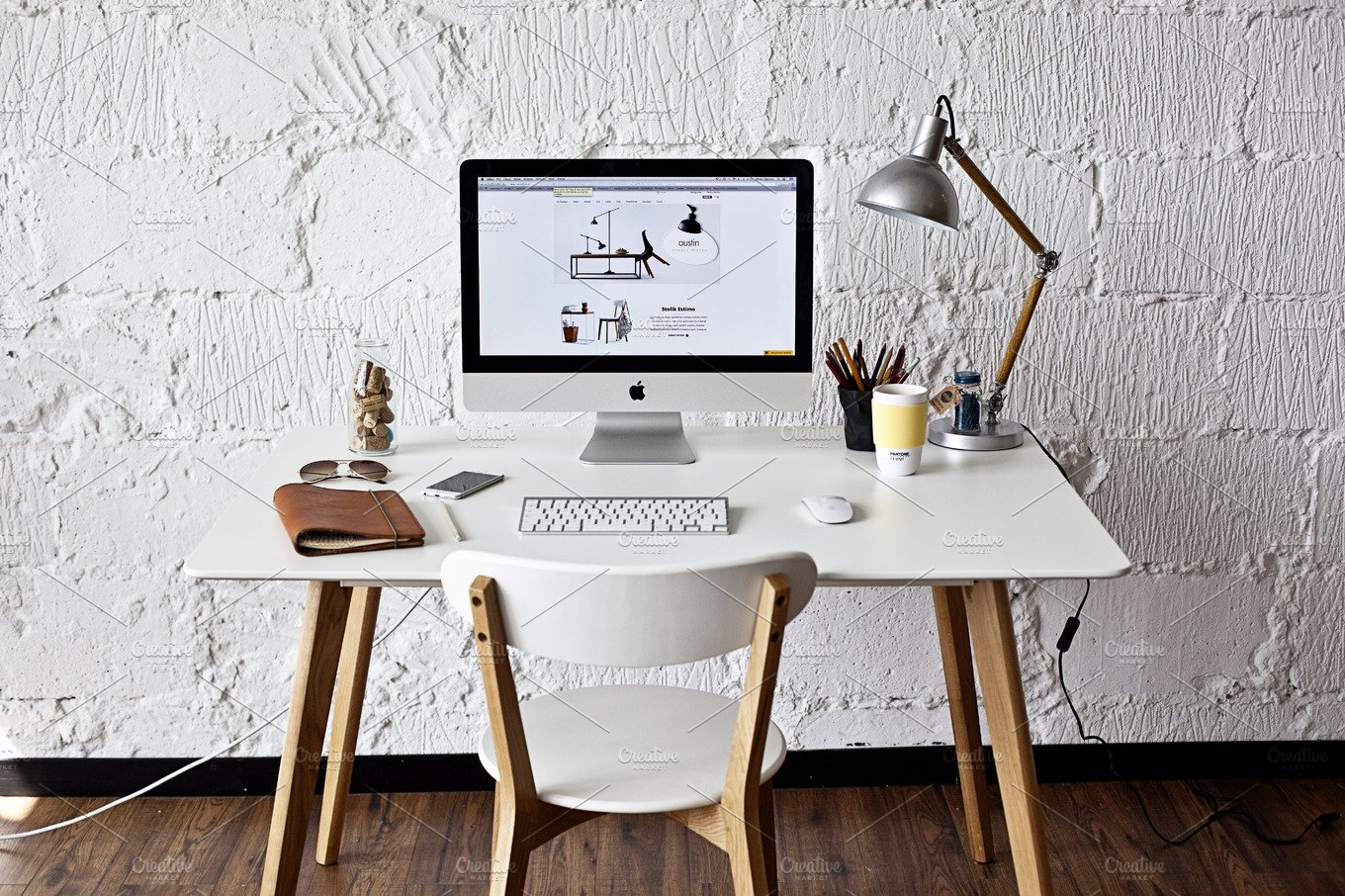 White workspace with imac photo business images for Wedding table design tool