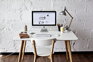 White workspace with iMac - photo