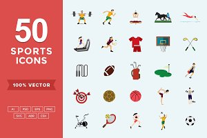 Flat Icons Sports Set
