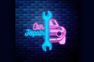 Vintage Car repair emblem