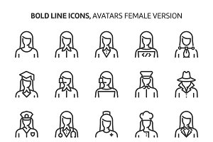 Female avatars, bold line icons