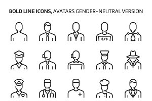 Gender neutral avatars, bold line ic