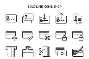Credit card, bold line icons