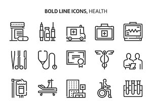 Health, bold line icons.
