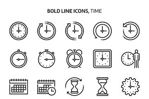 Time, bold line icons.