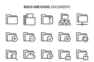 Folders, bold line icons.