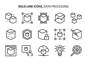 Data processing, bold line icons