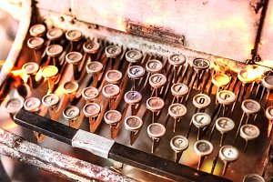 Close up of typewriter vintage retro