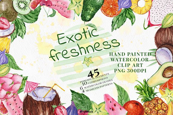 Exotic freshness Watercolor Set in Illustrations