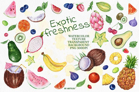 Exotic freshness Watercolor Set in Illustrations - product preview 1