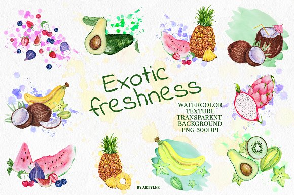 Exotic freshness Watercolor Set in Illustrations - product preview 2