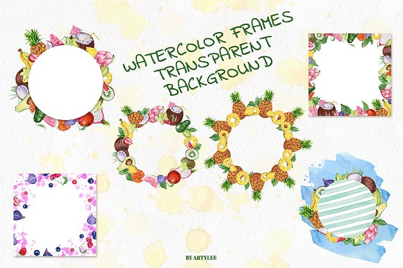Exotic freshness Watercolor Set in Illustrations - product preview 3