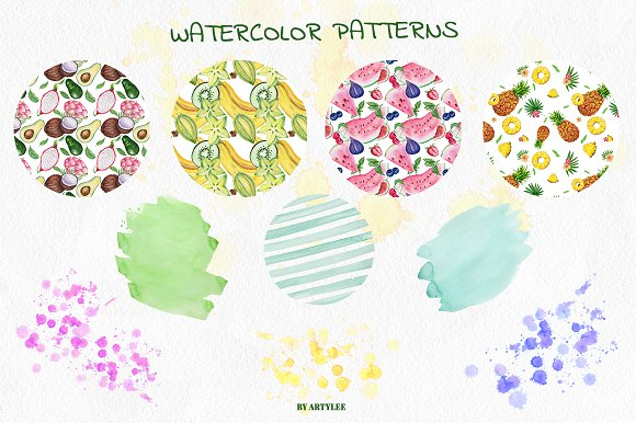 Exotic freshness Watercolor Set in Illustrations - product preview 4